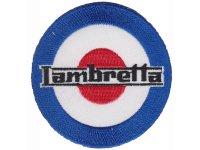 イタリア 刺繍ワッペン Lambretta【カラー・ホワイト】【カラー・ブラック】【カラー・ レッド】【カラー・ ブルー】