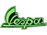 イタリア 刺繍ワッペン Vespa neon green  【カラー・ブラック】【カラー・グリーン】