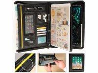 防水ドキュメントケース ファスナー開閉 合皮 iPadホルダー付き A4【カラー・ブラック】
