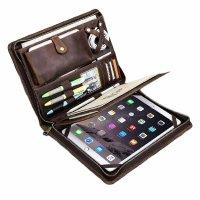 ドキュメントケース ファスナー開閉 本革 iPadホルダー付き A4【カラー・ブラウン】
