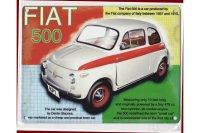 アンティーク風サインプレート イタリア FIAT 500  30x20cm【カラー・マルチ】