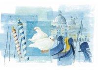 アンティーク風サインプレート イタリア ヴェネツィア Venezia 白い鳩 ゴンドラ 30x20cm【カラー・ホワイト】【カラー・ブルー】