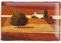 アンティーク風サインプレート イタリア トスカーナの風景 夕暮れの風景 30x20cm【カラー・ブラウン】【カラー・オレンジ】【カラー・グリーン】
