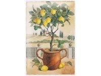 アンティーク風サインプレート レモンの木と丘の風景 30x20cm【カラー・イエロー】【カラー・グリーン】【カラー・ブラウン】