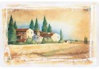 アンティーク風サインプレート イタリア トスカーナの夕暮れ風景 家 Tramonto 30x20cm【カラー・ブラウン】【カラー・イエロー】【カラー・グリーン】