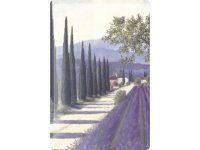 アンティーク風サインプレート イタリア トスカーナの風景 ラベンダー畑と並木道 30x20cm【カラー・パープル】【カラー・グリーン】