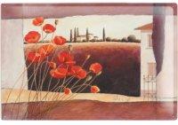 アンティーク風サインプレート ケシの花と丘の風景 30x20cm【カラー・レッド】【カラー・ブラウン】