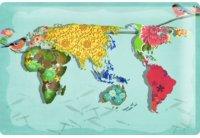 アンティーク風サインプレート 世界地図 30x20cm【カラー・マルチ】