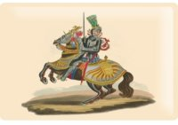 アンティーク風サインプレート 騎馬画 緑 30x20cm【カラー・マルチ】【カラー・イエロー】