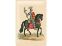 アンティーク風サインプレート 騎馬画  黒い馬 30x20cm【カラー・マルチ】【カラー・イエロー】