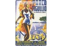 アンティーク風サインプレート イタリア 夏のバカンス アンティーク広告 30x20cm【カラー・マルチ】