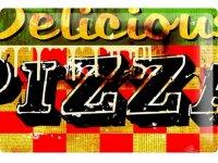アンティーク風サインプレート イタリア PIZZA 30x20cm【カラー・レッド】【カラー・グリーン】【カラー・マルチ】