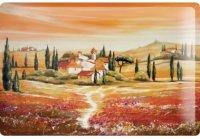 アンティーク風サインプレート イタリア トスカーナの夕暮れ風景 家 Tramonto 30x20cm【カラー・オレンジ】