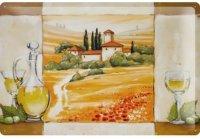 アンティーク風サインプレート イタリア トスカーナの景色 白ワイン デカンタ 30x20cm【カラー・マルチ】