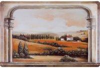 アンティーク風サインプレート イタリア トスカーナの夕暮れ風景 窓から Tramonto 30x20cm【カラー・オレンジ】