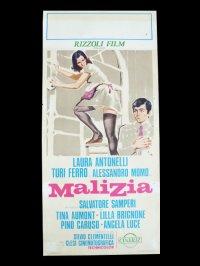 イタリア 映画 アンティークポスター Malizia (1973年) 青い体験 サルヴァトーレ・サンペリ  33 x 70 cm locandine