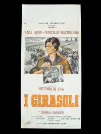 イタリア 映画 アンティークポスター  I girasoli(1970年)ひまわり ヴィットリオ・デ・シーカ マルチェロ・マストロヤンニ ソフィア・ローレン 33 x 70 cm locandine