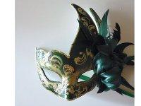イタリア ヴェネツィア カーニバル マスク 羽根つき 【カラー・グリーン】