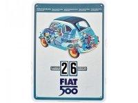 万年カレンダー フィアット FIAT 500 - SPACCATO - イタリア インテリア【カラー・ブルー】