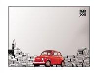 4柄展開 FIAT 500 デザイン鏡 ミラー 20 x 30 cm フィアット【カラー・ブルー】【カラー・レッド】【カラー・イエロー】【カラー・ブラック】【カラー・グレー】【カラー・オレンジ】
