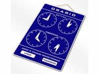 イタリア語表記営業時間表 ORARIO DI APERTURA 時計・チェーン付き  25 x 18 cm【カラー・ブルー】【カラー・ホワイト】