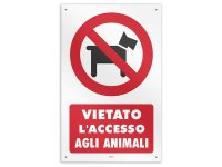 イタリア語表記 ペットは入れません Accesso Vietato agli animali 20 x 31 cm【カラー・レッド】【カラー・ブラック】【カラー・ホワイト】