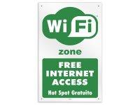 イタリア語表記  Wi-Fiフリー Wi-Fi Free Internet Access - Hot Spot Gratuito 20 x 31 cm 【カラー・グリーン】【カラー・ホワイト】