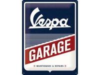 【数量限定】アンティーク風 サインプレート Vespa- Garage 30 x 40 cm【カラー・ブルー】