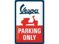 【数量限定】アンティーク風 サインプレート Vespa Parking Only 20 x 30 cm【カラー・ブルー】