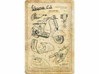 【数量限定】アンティーク風 サインプレート Vespa Parts Sketches 20 x 30 cm【カラー・イエロー】