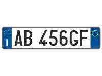 【文字入れ自由】イタリア 車用ナンバープレート レプリカ【カラー・ホワイト】【カラー・・ブルー】