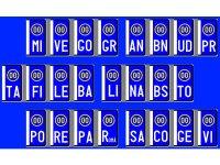 【文字入れ自由】イタリア 車用、バイク用ナンバープレート用ステッカー【カラー・ホワイト】【カラー・・ブルー】