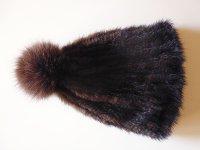 ふわふわ毛皮ミンク、フォックスのニット帽 【カラー・ブラウン】