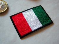 イタリア国旗の刺繍ワッペン ジャケットやジーンズをグレードアップ! 【カラー・グリーン】【カラー・レッド】【カラー・ホワイト】【カラー・ブラック】