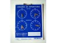 イタリア語表記営業時間表 ORARIO DI APERTURA 時計・チェーン付き 【カラー・ブルー】【カラー・ホワイト】