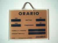イタリア語表記営業時間表 ORARIO チェーン付き 【カラー・イエロー】【カラー・ブラック】