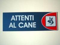 イタリア語表記シール貼付けタイプ  犬に注意 ATTENTI AL CANE 【カラー・レッド】【カラー・ホワイト】【カラー・ブルー】