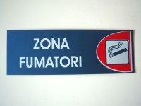 イタリア語表記シール貼付けタイプ  喫煙所 ZONA FUMATORI 【カラー・レッド】【カラー・ホワイト】【カラー・ブルー】