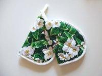 イタリア製 花柄鍋つかみ 2つセット コットン100%【カラー・グリーン】【カラー・ホワイト】