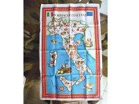 【一点限り】イタリア・チーズマップ☆イタリア製コットン大判布巾 【カラー・マルチ】