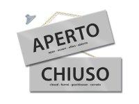 イタリア語表記営業・休業表記札 APERTO/CHIUSO チェーン付き 【カラー・グレー】