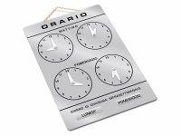 イタリア語表記営業時間表 ORARIO DI APERTURA 時計・チェーン・吸盤付き 【カラー・グレー】