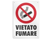 イタリア語表記  禁煙 VIETATO FUMARE 20 x 26.5 cm 【カラー・レッド】【カラー・ホワイト】