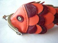 赤いお魚、ネックストラップ付き小物入れ レザー 【カラー・オレンジ】【カラー・ワイン】【カラー・レッド】