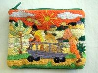刺繍いっぱいの可愛いミニポーチ コインケース 小物入れにも 【カラー・マルチ】【カラー・グリーン】【カラー・オレンジ】