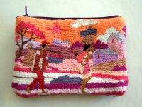 刺繍いっぱいの可愛いミニポーチ コインケース 小物入れにも 【カラー・マルチ】【カラー・ピンク】【カラー・ワイン】
