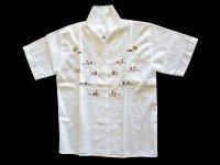 刺繍いっぱいの白いシャツ 【カラー・マルチ】【カラー・ホワイト】