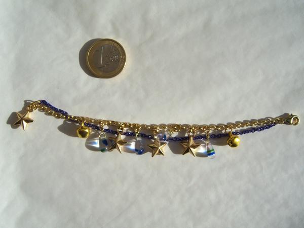画像3: ブルーのチェーンとゴールドの星で輝く夜空のイメージ ブレスレット 【カラー・ブルー】