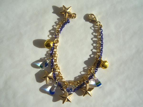 画像4: ブルーのチェーンとゴールドの星で輝く夜空のイメージ ブレスレット 【カラー・ブルー】