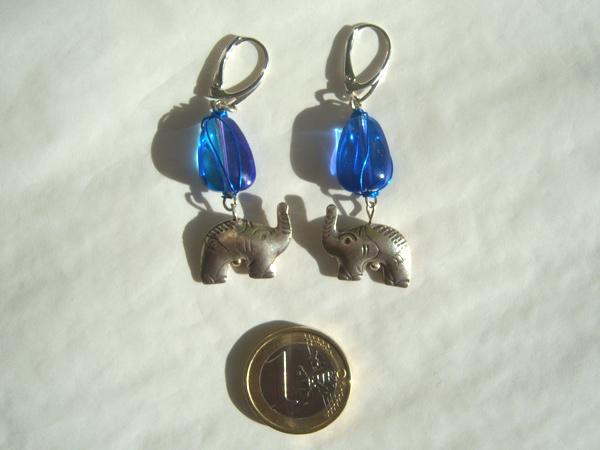 画像3: 鮮やかブルーにシルバーの象で高級カジュアル ピアス 【カラー・ブルー】